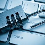 mini combination padlock on keyboard, data protection