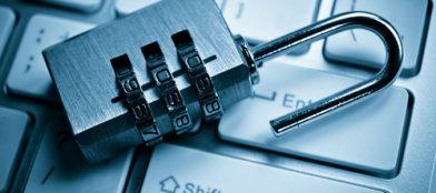 mini combination padlock on keyboard, data protection