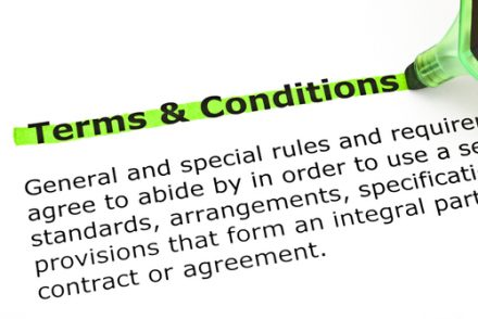 terms and conditions in highlighted text