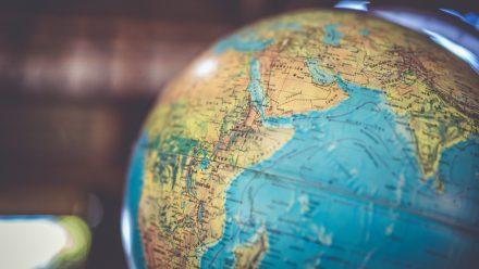 close up of a world globe