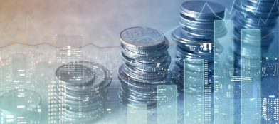 piles of money with a computerised city and shares background