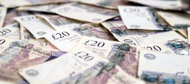large pile of twenty pound notes