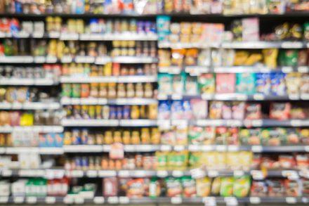 branded food on supermarket shelf