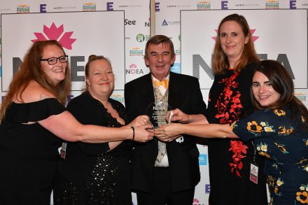 Philip Day and the team at English Heritage Events holding the Events Team of the Year award