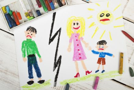 child drawing of a broken family
