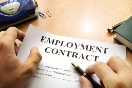 employment contract with pen