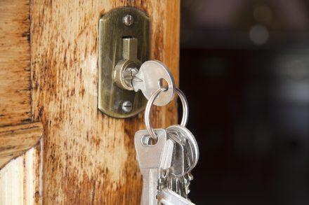 keys in a front door
