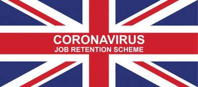 British flag with Covid-19 job retention scheme