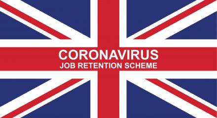 British flag with Covid-19 job retention scheme