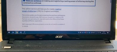 Make a Lasting Power of Attorney computer screen