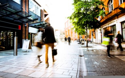 blurred shoppers on the high street
