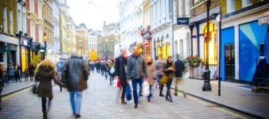 Shoppers walking down high street