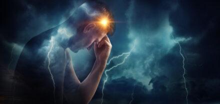 man with headache, sickness